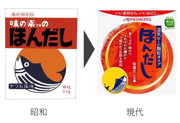 ほんだし 昭和と現代のデザインの違い