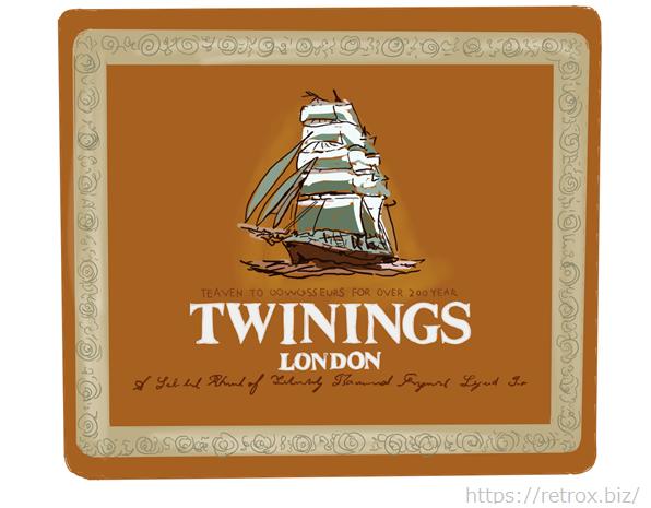 昭和の懐かしい缶 トワイニング紅茶 イラスト画像