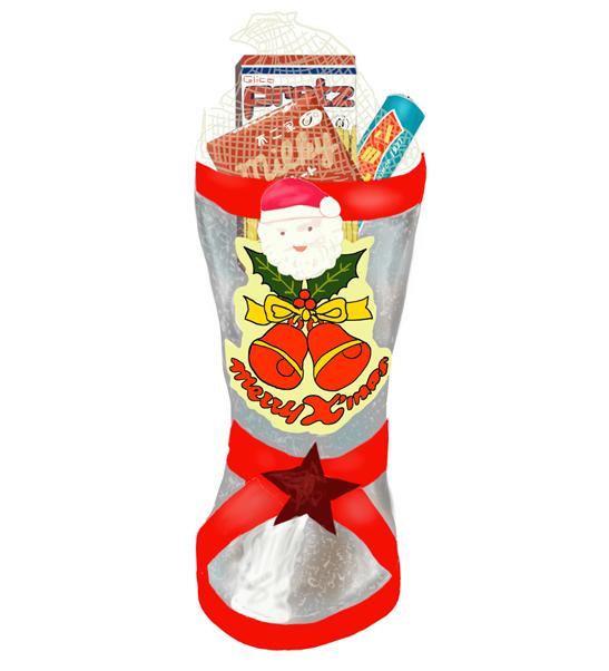 昭和のブーツに入ったクリスマスお菓子