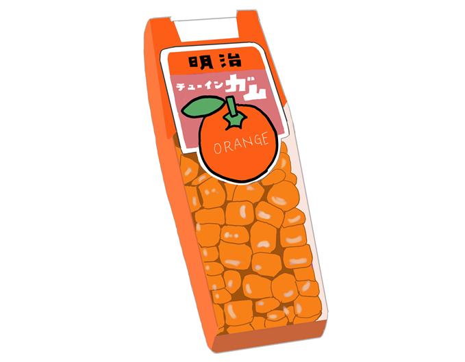 明治製菓 プチガム オレンジ味 昭和当時の製品イラスト画像