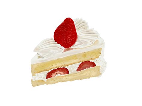 リアルなイラスト いちごのショートケーキ