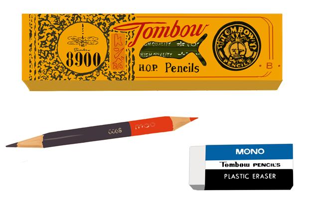 昭和の三菱鉛筆、赤鉛筆、MONOの消しゴム