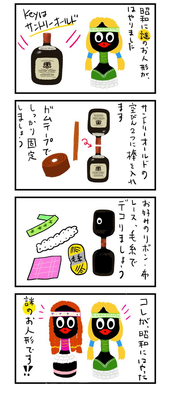 四コマ漫画 サントリーオールドの人形の作り方