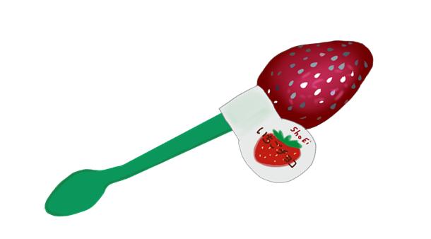 駄菓子 スプーン いちごチョコイラスト画像
