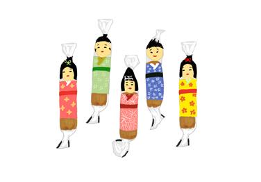 昭和のこけしおかき イラスト画像