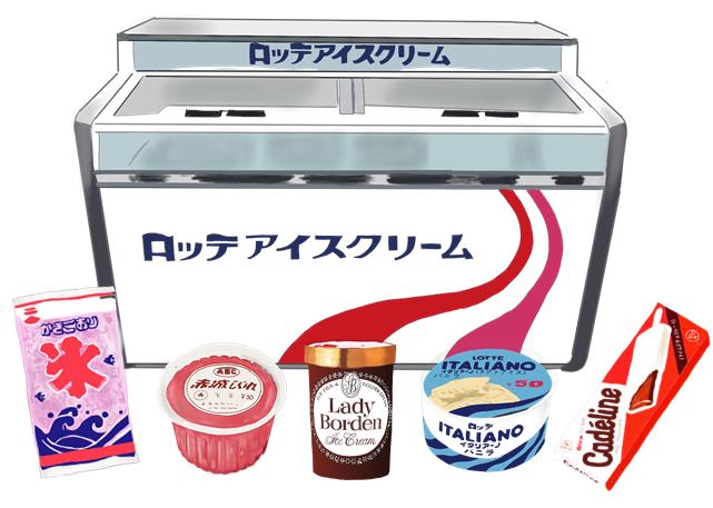 昭和のアイスのケース イラスト画像