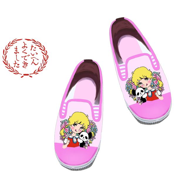 昭和 少女漫画プリントの靴