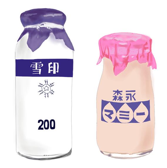 昭和の牛乳、乳性飲料 イラスト画像