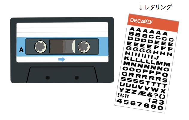 カセットテープとレタリング イラスト画像