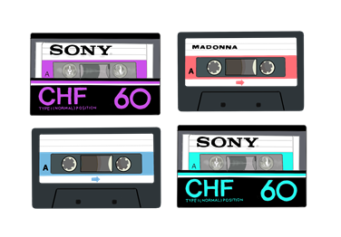 昭和の懐かしいカセットテープ イラスト画像