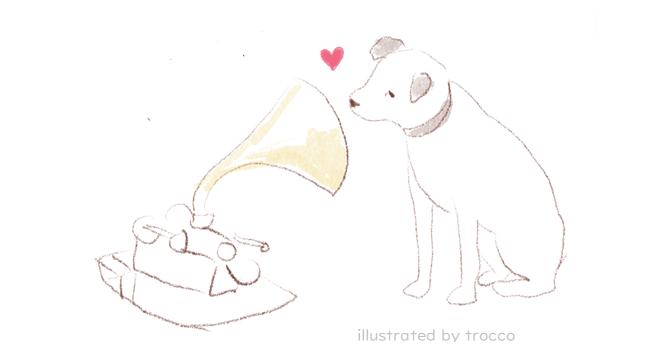 蓄音機を聴く ビクター犬ニッパーのイラスト画像