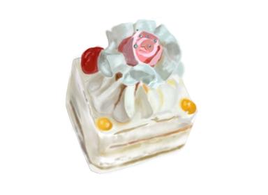 昭和レトロな薔薇のバターケーキ イラスト