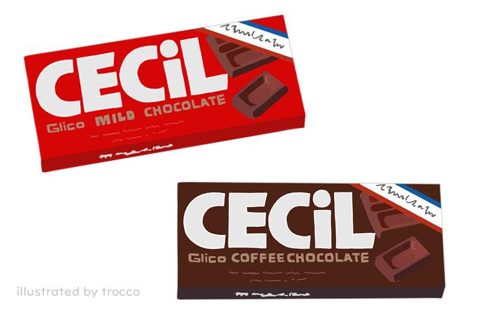 80年代 グリコセシルチョコレート 板チョコ イラスト画像
