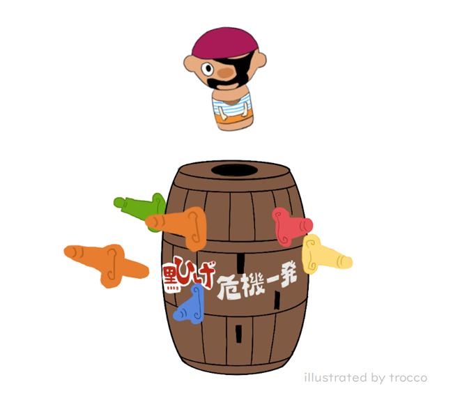 昭和生まれのおもちゃ 黒ひげ危機一髪 イラスト画像