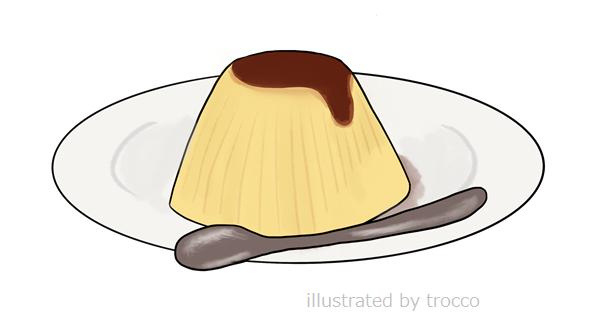 昭和 森永プリン お皿にのせたイラスト