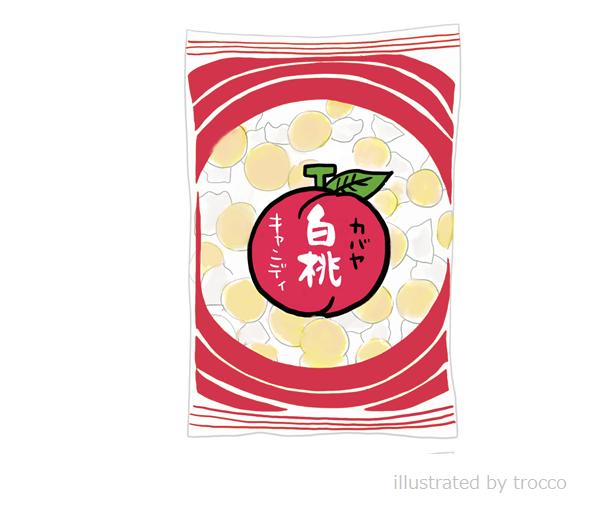 昭和のカバヤ 白桃キャンディ イラスト画像