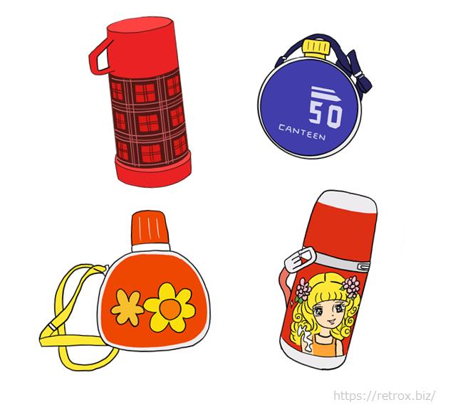 昭和の懐かしい水筒 イラスト画像