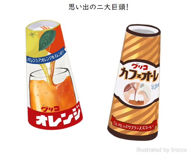昭和 グリコ カフェオレとバレンシアオレンジジュース イラスト画像