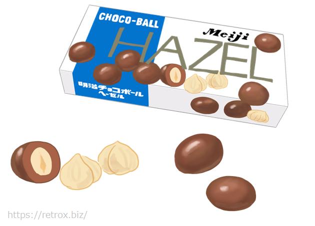 昭和の明治ヘーゼルナッツチョコレート パッケージイラスト画像