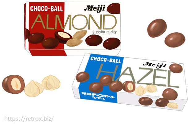 昭和 明治ヘーゼルナッツチョコレートとアーモンドチョコレート