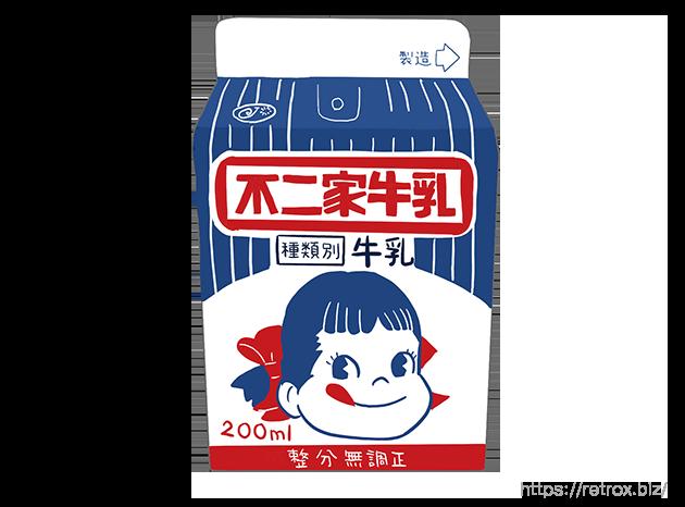 昭和 不二家 牛乳パッケージ イラスト画像