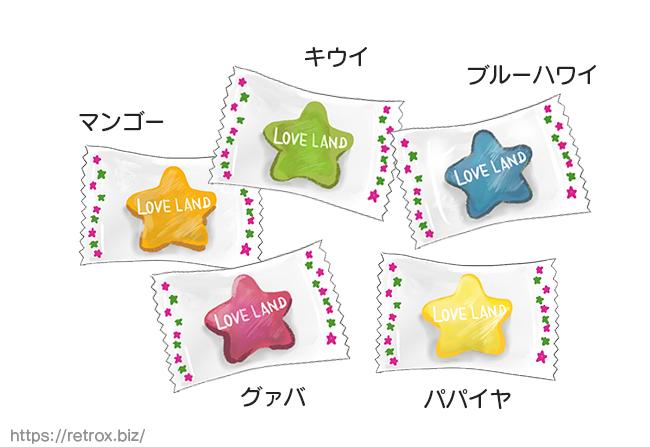扇雀飴 LOVE LAND  5つのキャンディ イラスト画像