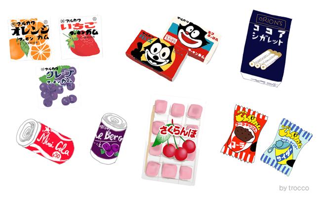 昭和からあるロングセラーの駄菓子 イラスト画像