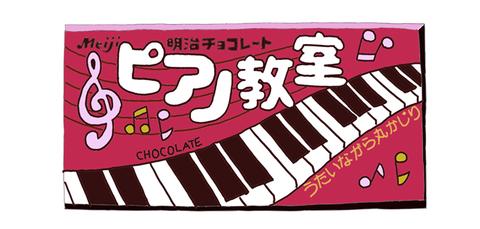 明治製菓 ピアノ教室 昭和当時の製品画像 イラスト