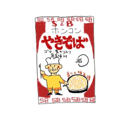 エスビー食品 ホンコンやきそば 昭和の製品画像イラスト