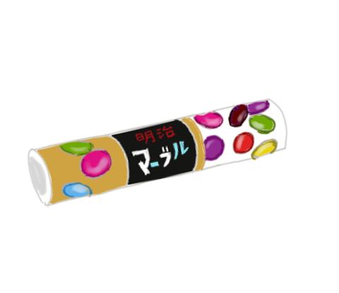 明治マーブルチョコレート 昭和の製品画像イラスト