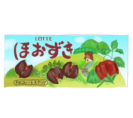 ロッテ ほおずき 昭和の製品画像イラスト